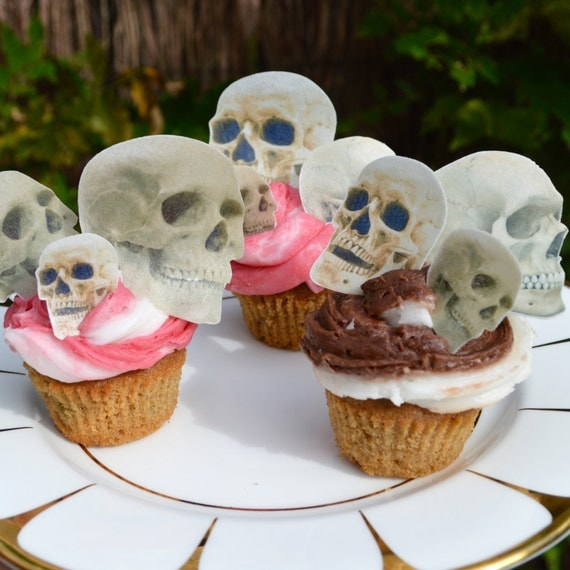 Edible Cake Decorations Skull : Edible Skulls Halloween Realistic Bone Skull Wafer Rice ...