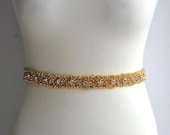 Gold Bridal Belt Wedding Crystal Bridal Sash,Wedding Dress Sash Belt, Rhinestone Bridal Bridesmaid Sash Belt, Wedding dress sash