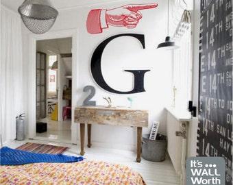 Retro Pointing Finger Vinyl Wall Decal - Dorm Room, Teen's Room, Kitchen, Bar - Retro Wall Sticker