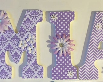 lavender baby nursery letters, wood letters for girls, wall letters, chevron letters, Mia, custom letters for names, decorative letters