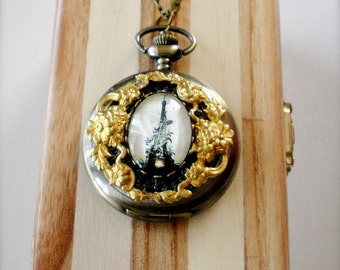 Eiffel Tower Watch Necklace, Eiffel Tower Floral Pocket Watch Necklace, Long Necklace, Floral Watch Pendant, Travel Jewelry, Gift for Her