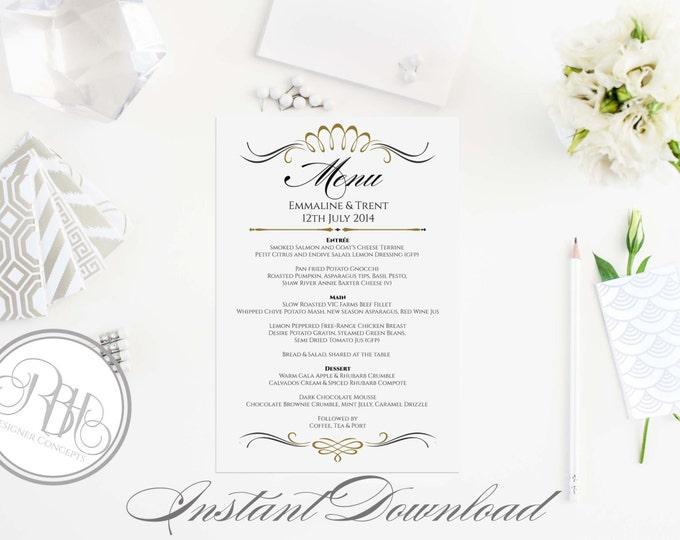 "Art Deco Birthday Menu Template-Instant Download - Elegant Black & Gold Art Deco Design - ""Anneliese Menu Card"""