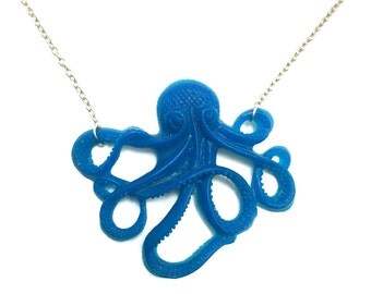 Octopus jewelry / Octopus necklace / resin jewelry / blue jewelry / ocean jewelry / nautical necklace / octopus pendant