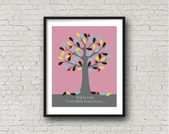Instant Download Nursery Oak Tree Art Print in Rose Pink, Oak Tree and Acorn Nursery Wall Art, New Baby Gift, nursery decor, baby girl gift
