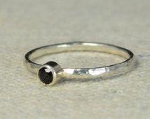 Natural Black Spinel Ring, Sterling Silver Solitaire, Black Stone Ring, Silver Jewelry, Black Solitaire, Solitaire Ring, Classic Silver Band