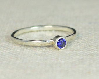 Classic Sterling Silver Sapphire Ring, Silver Ring, Sapphire Solitaire, Gem Solitaire, Mother's Ring, Stack Ring, Stacking Ring, Dainty Ring
