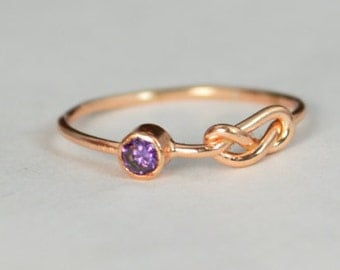 14k Rose Gold Amethyst Infinity Ring, 14k Rose Gold, Stackable Rings, Mothers Ring, February Birthstone, Rose Gold Infinity, Rose Gold Knot