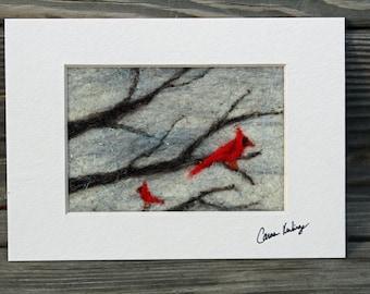 Winter Cardinals felt painting