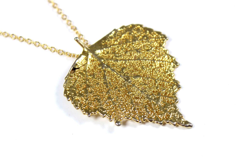 vintage gold dipped leaf necklace real leaf pendant dipped