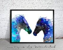 Horses Love Watercolor Print, Horse art, watercolor painting, watercolor art, Illustration,home decor, wall art, animal art, Horse poster