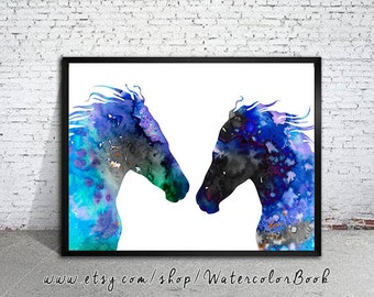 Horses Love Watercolor Print, Horse art, watercolor painting, watercolor art, Illustration,home decor, wall art, animal art, Horse poster