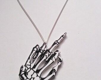 Large Skeleton Hand Gesture Horror Spooky Freak Show Halloween Acrylic Necklace