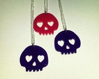 Pink Purple Skull Halloween Horror Necklace