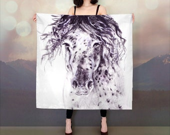 Printed scarves, boho chic style, gift idea, horse gift, womens scarf, fashion scarf, birthday gift, horse lover, cowgirl, equine