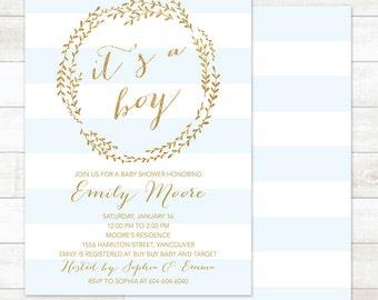 Baby Boy Shower Invitation, It's a Boy Baby Shower Invitation, Gold Wreath Baby Shower Invitation, Printable Baby Shower Invitation