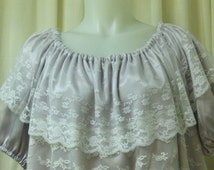 Silver Grey Satin with White Lace Trim Fairy, Victorian, Pirate, Peasant Blouse, Size S/M