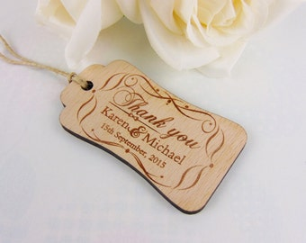 Custom Thank You Tags Set, Wood Thanks You Tags, Wedding Thank You Cards, Wedding Accessories, Engraved Tags, Wedding favors, Gift Tags