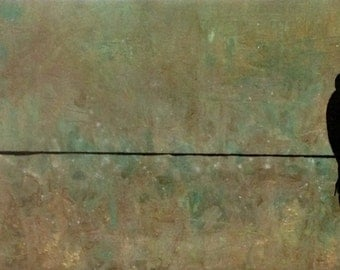 """Free Shipping Birds On Wire: 24"""" x 12"""" Abstract Painting"""