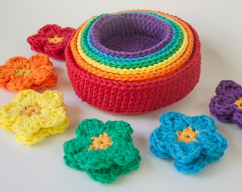 Rainbow Crochet Nesting Bowls and Sorting Flowers - A Waldorf and Montessori Color Matching Baby Toy - Nestng Toy - Stacking Toy