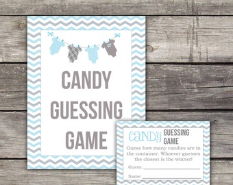 Blue and Grey Baby Shower Candy Guessing Game - Blue and Grey Baby Shower Game - Boy Baby Shower Games - Baby-154