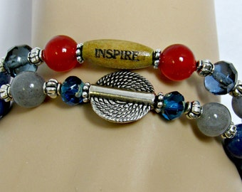Inspire Wood Beaded Bracelet, Two Layered Bracelets, Inspire Layered Bracelets, Blue Layered Bracelets, Artistry Jewels, Gift For Her