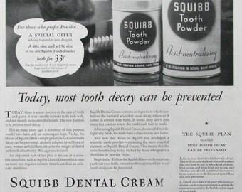 1936 Squibb Tooth Powder Ad - Acid Neutralizing - Squibb Dental Cream - 1930s Oral Hygiene Advertising