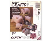 McCalls Crafts 5989 Sewing Pattern Pig Country Stuffed Pigs in Three Sizes Quick and Easy UNCUT