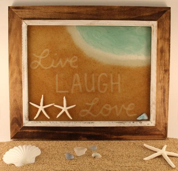 ... Christmas Beach Sign Gift - Handmade Sand Art - Rustic Wood Frame