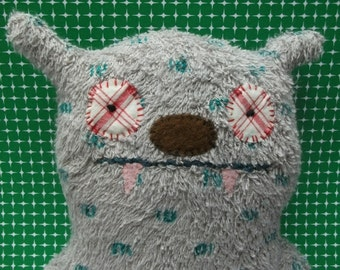 cuddly grey monster, soft, handmade