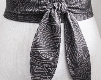 Sale! Grey Aztec Tribal Leather Tulip Tie Obi Belt | Aztec Ethnic Belt | Obi belt |Leather Belt| Plus Size Belts