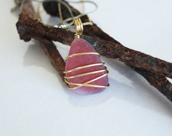 Red and Gold Sea Glass Pendant