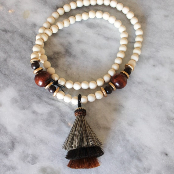 Triple Horsehair Tassel Necklace