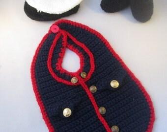 Marine Baby Handmade Crocheted 3 Piece Set/ Halloween Set/ Newborn Photography Prop/Baby Shower Gift