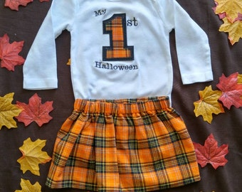 First Halloween Fall Autumn Orange and Black Plaid Onesie and Skirt Outfit for Baby or Toddler Girl