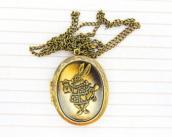1057 - White rabbit locket, locket necklace, locket jewelry, antique brass, brass locket, rabbit necklace, rabbit jewelry, 30 in chain