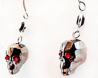 0996 - Swarovski skulls, silver skulls, skull earrings, skull jewelry, Halloween skulls, Halloween earrings, Halloween jewelry, Halloween