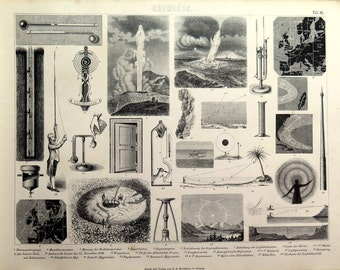Antique curiosities of physics and geology science  print,  1859 original VINTAGE  engraving, Atmospheric optical physical phenomena mirage.