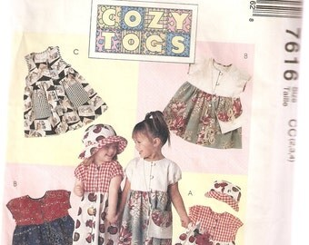 VINTAGE McCall's Sewing Pattern 7616 - Children's Clothes - Toddler Dress, Hat & Purse, Size 2-3-4