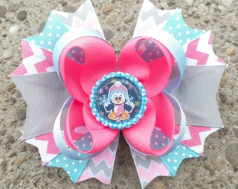 Winter Hair Bow - Penguin Hair Bow - Chevron Bow - Think Pink Boutique - Girls Hair Bows