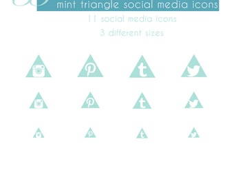 Mint Triangle Social Media Button Set
