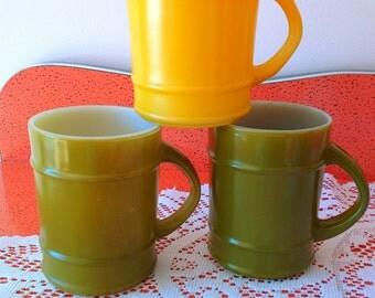 Set of 3 milkglass Fire King coffee mugs