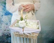 Big flower girl basket burlap lace sola flower ivory green white bright rustic woodland summer spring wedding vintage custom