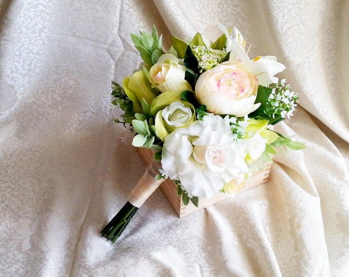 READY to SHIP Best quality green and creme silk flowers peonies roses lily wedding BIG bouquet satin Handle, greenery natural