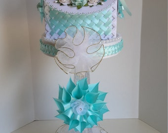 Turquoise baby shower centerpiece, baby shower centerpiece