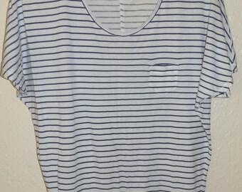 Vintage 1990's Navy Blue and White Breton Stripe Long Line Short Sleeve T Shirt UK 8/12 / US Size 4/8