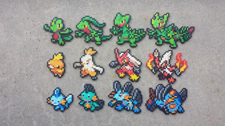 Hoenn starters pokemon perler bead sprites by maddogscreations - Pokemon perle evolution ...