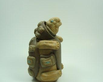 Ceramic tortoise art sculpture, tortoise pottery art, unique clay art tortoise, collectible ooak art doll