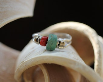Vintage Sterling Silver Turquoise Ring / Handmade Thump Ring / Size 9
