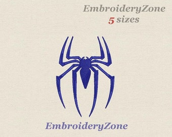 Spider logo of spiderman large Machine embroidery design. Simvol Super hero comics spiderman embroidery pattern. Five 5 sizes Hoop 5x7 6x10