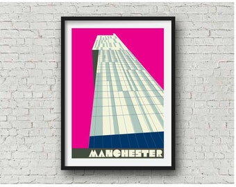 Manchester Beetham Tower in Hot Pink  / Manchester Hilton Hotel Print, A4, 8 x 10 inch print
